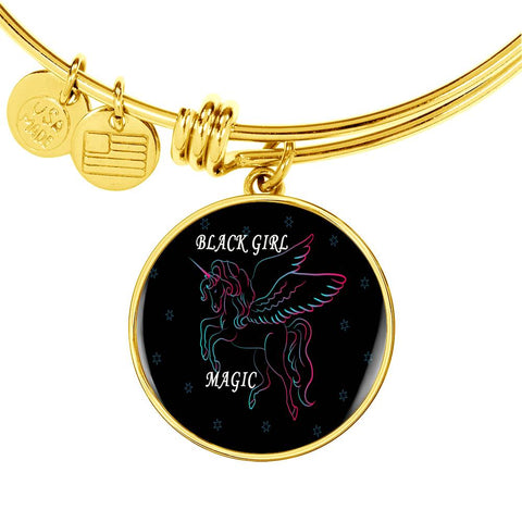 Black Girl Magic Necklace and Bangle Circle Silver or Gold