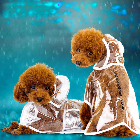 Dog Clothes Transparent  Waterproof Raincoat  With Hood