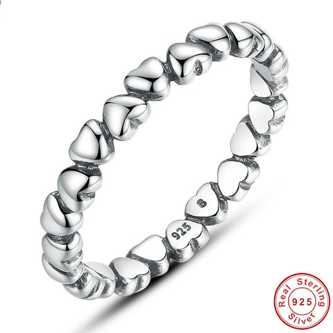Authentic 925 100% Solid Sterling Silver Forever Love Heart Finger Ring
