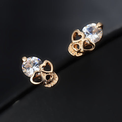 CZ Gold Color Skull Stud Earrings