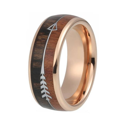 Tungsten Carbide Rings  Koa Wood Arrow Inlay Domed Polished Shiny Comfort Fit