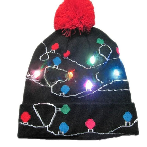 LED Light Up Knitted Winter Christmas Beanie  Hats