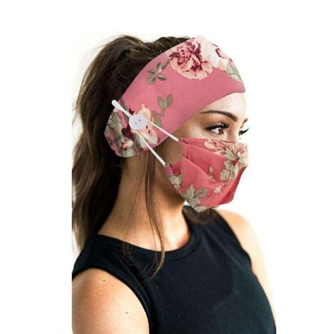 Yoga Sports Tie Dye and Printed Cotton Elastic Button Hair Band and Mask Set