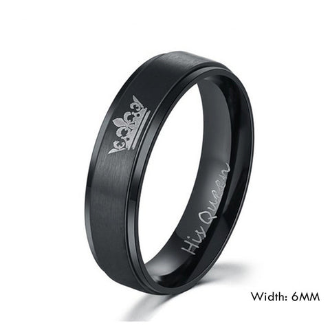 Couples Jewelry Her King and His Queen Stainless Steel Rings for Women Men