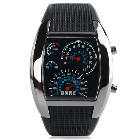 Men's LED Luminous Blue & White Digital Speedometer Wristwatch