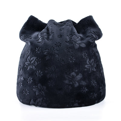 Warm Women Girls Velvety Floral Print Beanies Cat Ears Skullies