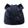 Image of Warm Women Girls Velvety Floral Print Beanies Cat Ears Skullies