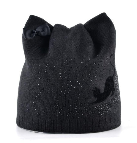 Winter Knitted Beanies Skullies Cap Hat With Ear Flaps For Women Black Cat Diamond Bow-knot