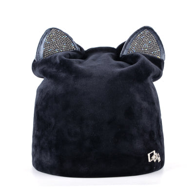 Velvet Beanie Cap Skullies with Rhinestone Cat Ears  Women's Fall-Winter Hat