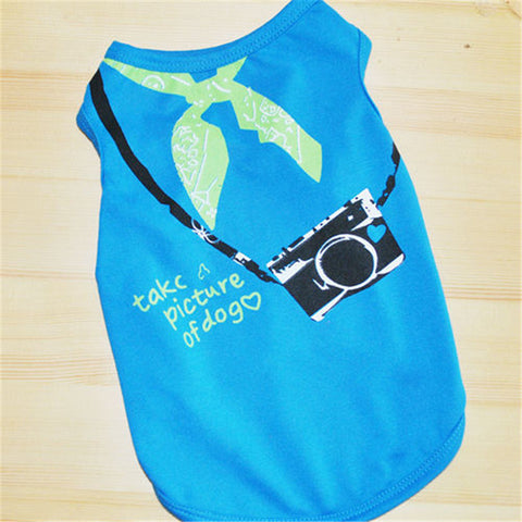 Camera Bow Print Tank T-Shirt for Small Dog