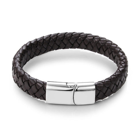 Men's Black/Brown Braided Leather Bracelet Stainless Steel Magnetic Clasp