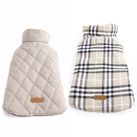 Waterproof Reversible Designer Plaid Warm Winter Coats  Small to Large Dogs