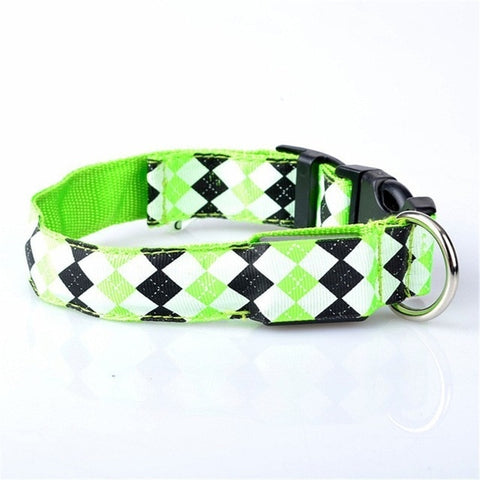 Nylon LED Dog Collar Night Safety Flashing Glow In The Dark Argyle Pattern