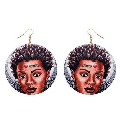 Beautiful Natural  Handmade African Woman Wooden Earrings
