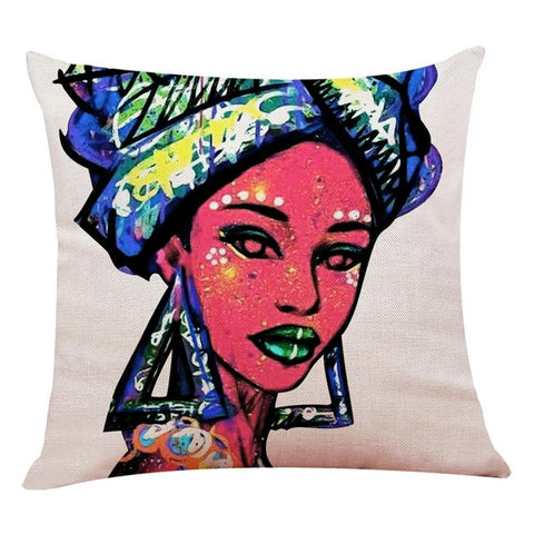 African Black Women Style Printed Cushion Cover Throw Pillow Covers