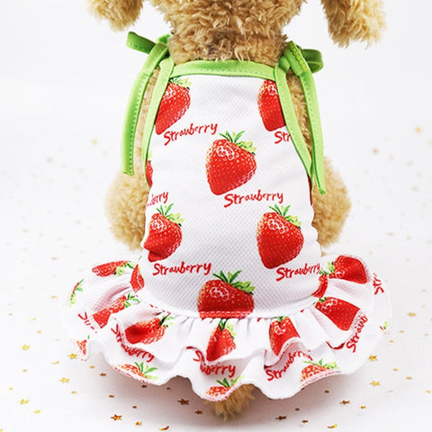 Summer Breathable Fruit Print Dog Dress Pet Vest for Small Dogs
