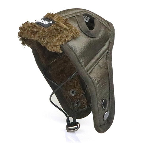Warm Dog Pilot Hat PU Leather Fleece Dog Caps For Dogs Cats