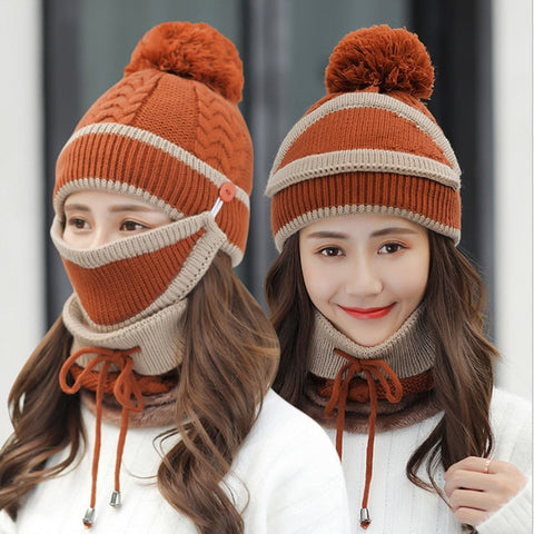 Hat Glove Set Casual Beanies for Men Women Warm Knitted Winter Hat