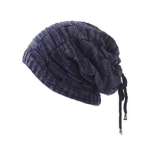 Drawstring Knitted Caps Beanies Autumn Winter Hats Skullies Unisex