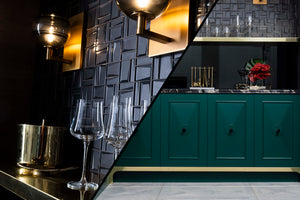 Split Image of a Hollywood Regency Inspired Bar at the Flagship Showroom of Divine Flooring