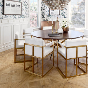 Champagne parquet french white oak engineered hardwood floor in a formal dining room