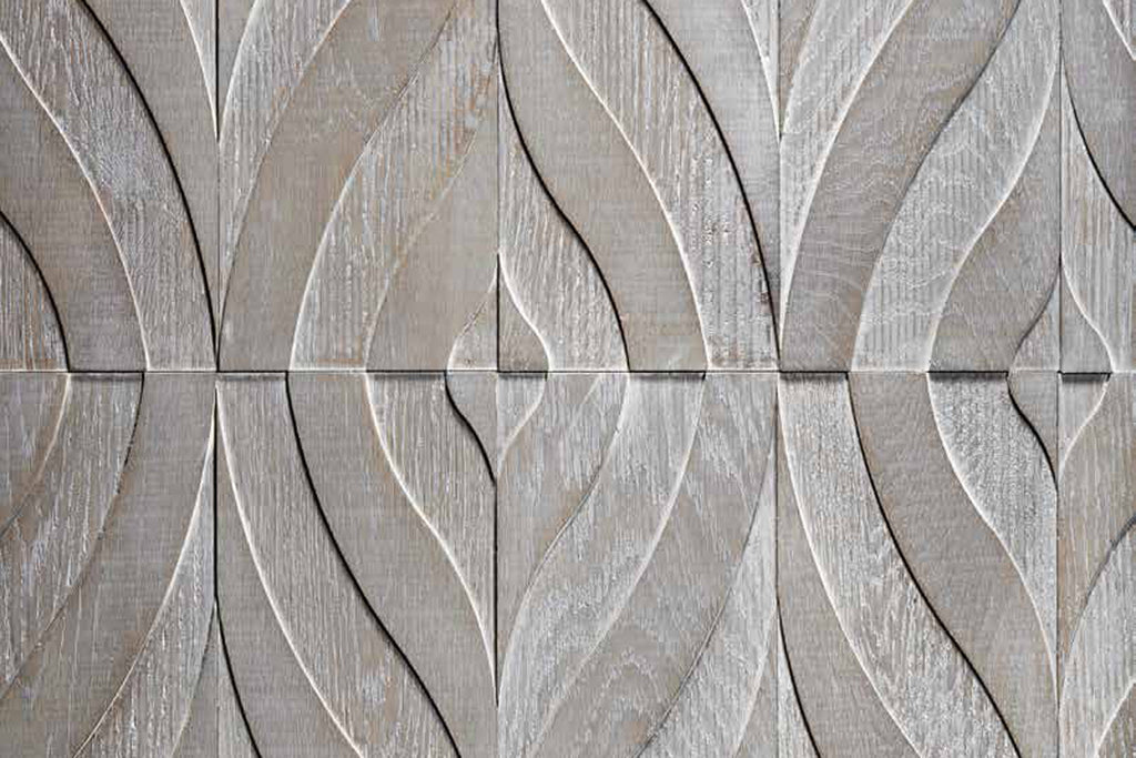 The Arches pattern is made of two individual tile designs that create a continuous feather shape inspired by a female dancer en pointe.