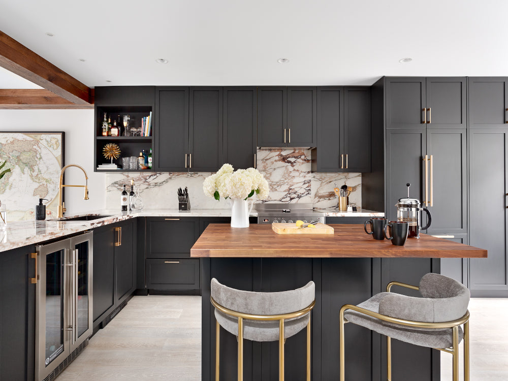 Karin Bohn's Vancouver Townhouse Renovation Kitchen Black Cabinets and White Engineered Hardwood