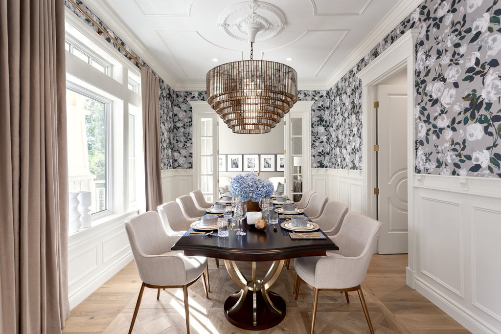 Art Deco Inspired Dining Room in Vancouver with ornate ceiling molding and parquet hardwood floors
