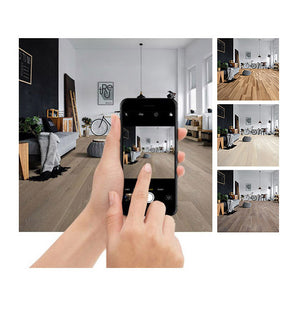 Photo showing woman using room visualizer to preview different floors in a setting