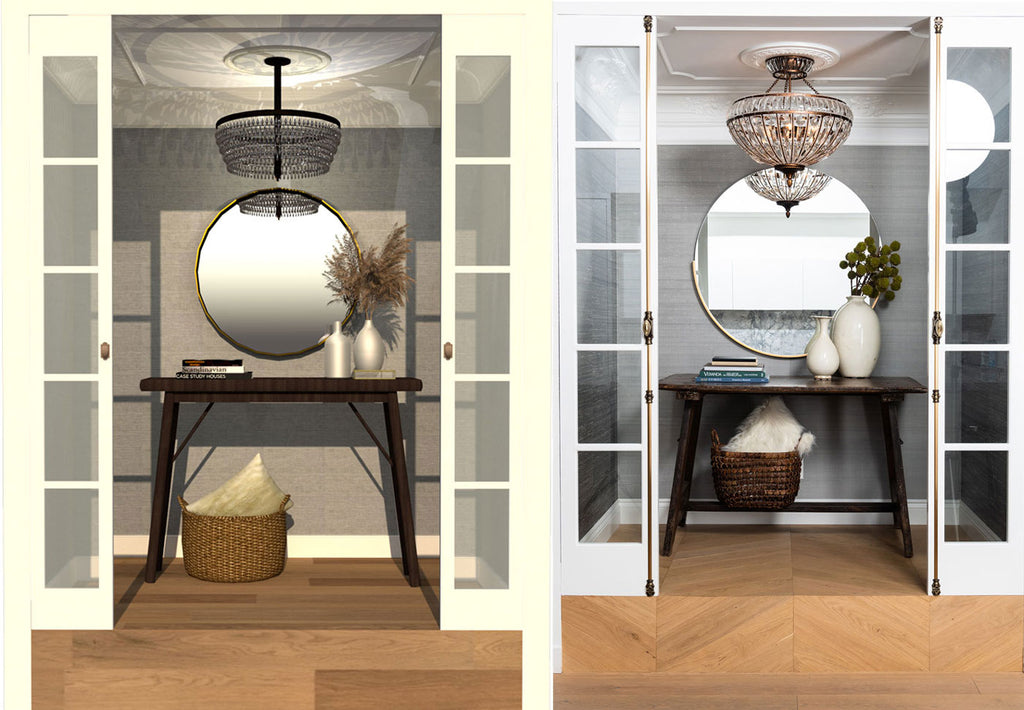 Side by side comparison of the low and high budget options for a Parisian apartment foyer inspiration