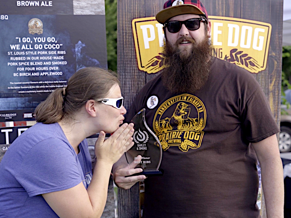Prairie Dog Brewing Accepting Their Best Ribs Award at Cancer Fundraiser