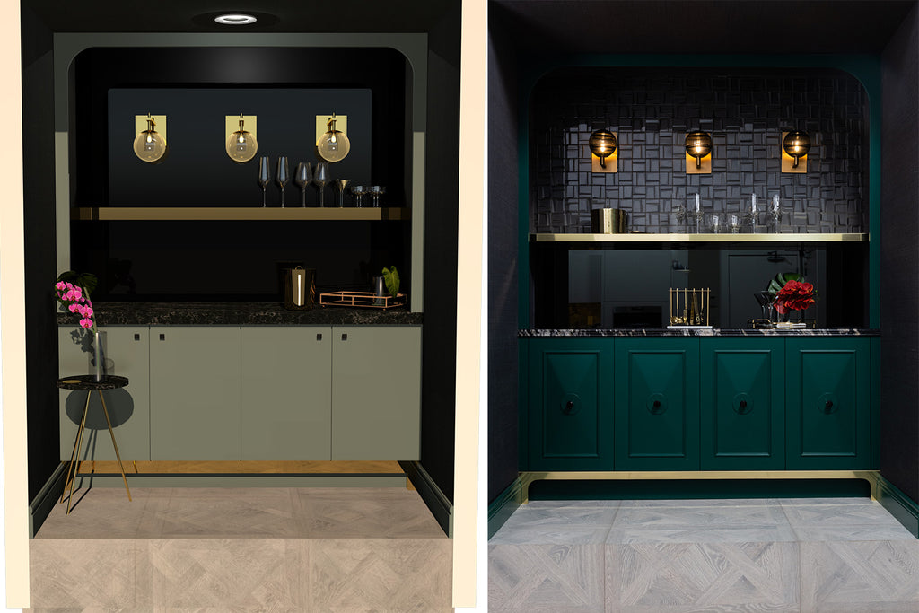 Side by side comparison of a rendering vs a real vignette of a Hollywood Regency inspired home bar
