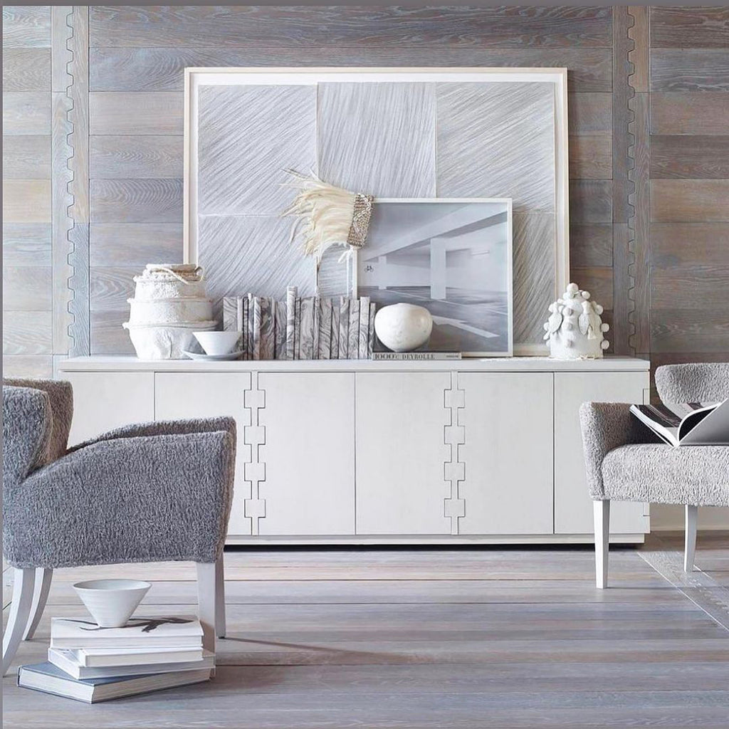Zip It! wood pattern from the Jamie Beckwith Collection is used on a wall and features a signature joinery technique of Windsor Smith