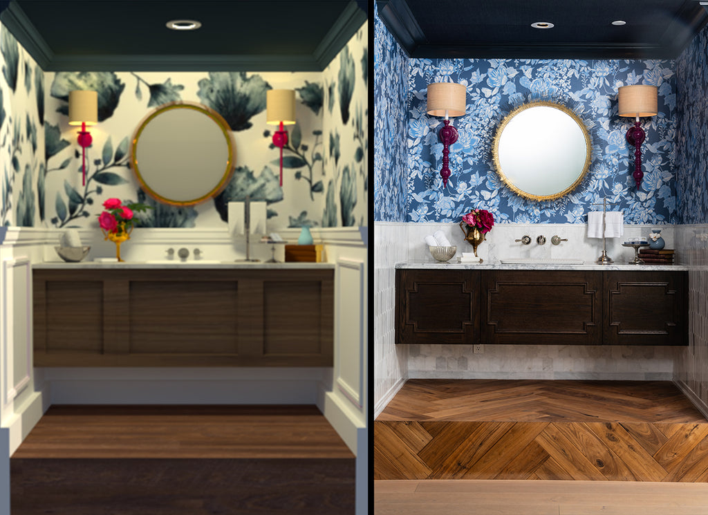 Rendering vs Real Vignette of Modern Traditional Inspired Powder Room in Divine Flooring Showroom