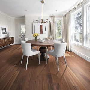 Amarosa Natural Sapele Hardwood in Modern Dining Room Scene