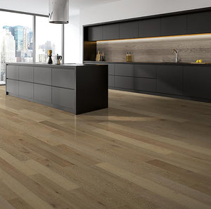Amarosa Grande Cigarro Oak Hardwood in Minimalist Kitchen Room Scene