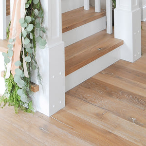 Farmhouse Cabbiavoli European Oak Hardwood in the home of lifestyle blogger Monika Hibbs