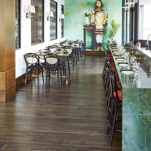 Farmhouse Capbourteil European Oak Hardwood in a Restaurant Designed by Alykhan Velji