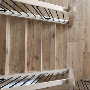 Louis XIV Champagne French White Oak Hardwood installed on stairs