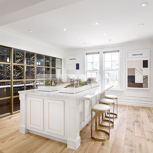 Louis XIV Champagne French White Oak Hardwood in a Vancouver sales centre