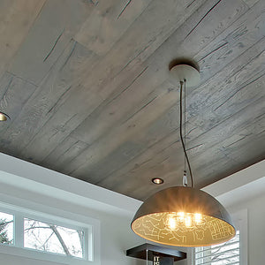 Farmhouse Chateauneuf European Oak Hardwood installed on a celing with suspended lighting