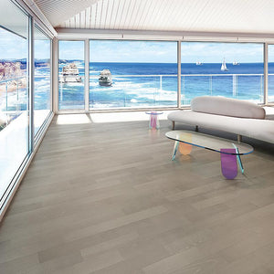 Coastline Arctic Bark Ash Hardwood in a Living Room by the Ocean Room Scene