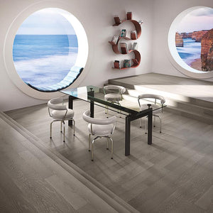 Coastline Ashore Oak Hardwood in an Open Space Room Scene