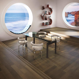 Coastline Moonlit Shore Rift Oak Hardwood in an Open Space Room Scene