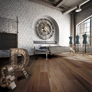 Cosmopolitan Farmer's Tan European Oak Hardwood in Industrial Vintage Setting