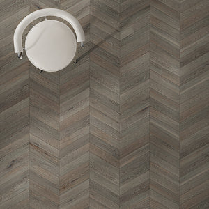 Cosmopolitan Charlie European Oak Hardwood in Traditional Chevron Layout