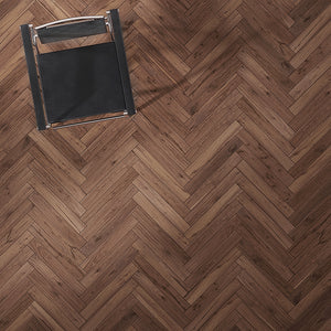 Farmhouse Corsanello Walnut Hardwood in a Traditional Herringbone Layout