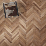 Farmhouse Vernazza European Oak Hardwood in a Traditional Herringbone Layout