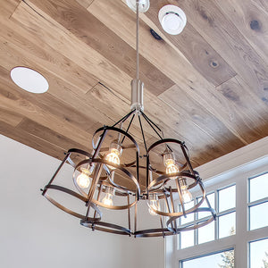 Cosmopolitan Gatsby European Oak Hardwood installed on ceiling with suspended lighting