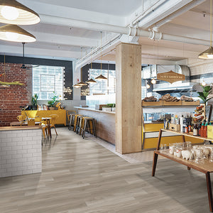 Good Vibrations Loose Lay Vinyl Plank Flooring from the Journey Collection by Divine installed in a coffee shop